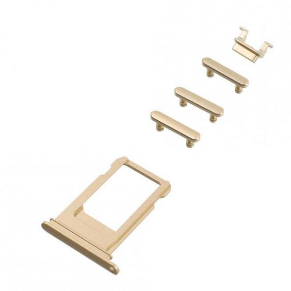 Seitentasten Set und Sim Tray für iPhone 7, gold