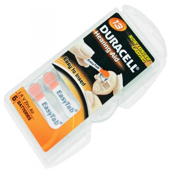 Hörgerät-Batterie 13 Duracell EasyTab, 6 Stück, R13, R13AE, PR48, 13HPX, AC13, PR-13PA, PR13H, DA13,
