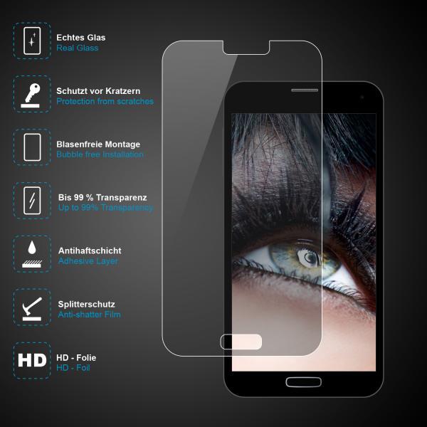 Displayschutz-Glas für Samsung Galaxy S5 mini, aus gehärtetem 0,3 mm Glas, inkl. Zubehör