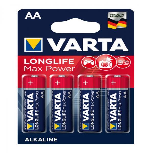 Batterien AA Mignon 4706, Varta LONGLIFE Max Power, 4 Stück, LR6, AA, Mignon, LR6EE, AM3, Size M