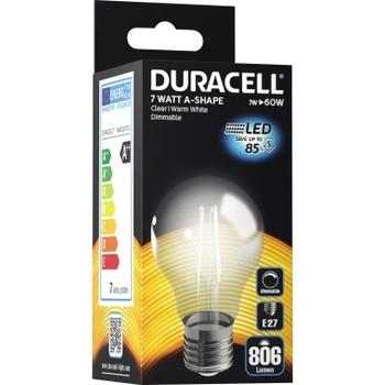LED-Birnenlampe (Faden) Duracell E27, 230V, 7W, A++, warmweiß 2700K, dimmbar
