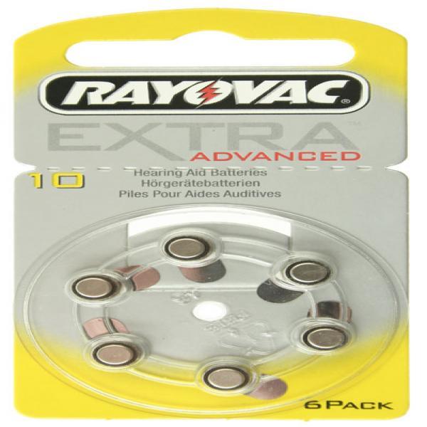 Hörgerät-Batterie R10AE Rayovac EXTRA ADVANCED, 6 Stück, R10, PR70, 10HPX, AC230, PR-230PA, PR-230H