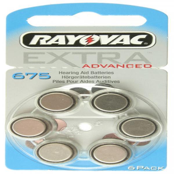 Hörgerät-Batterie R675AE Rayovac EXTRA ADVANCED, 6 Stück, wie 675, R675, R675AE, PR44, 665HPX