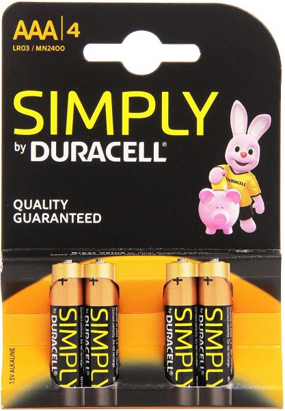 Duracell Batterie Simply Micro AAA, 4er Blister, wie LR03, AAA, Micro, LR03EE, AM4, Size S, 4003