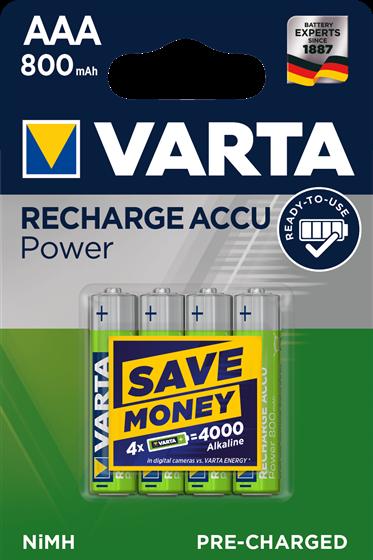 Batterie AAA Varta Recharge ACCU Power 800mAh, NiMH, 4er Blister, wie LR03, AAA, Micro, LR03EE, AM4